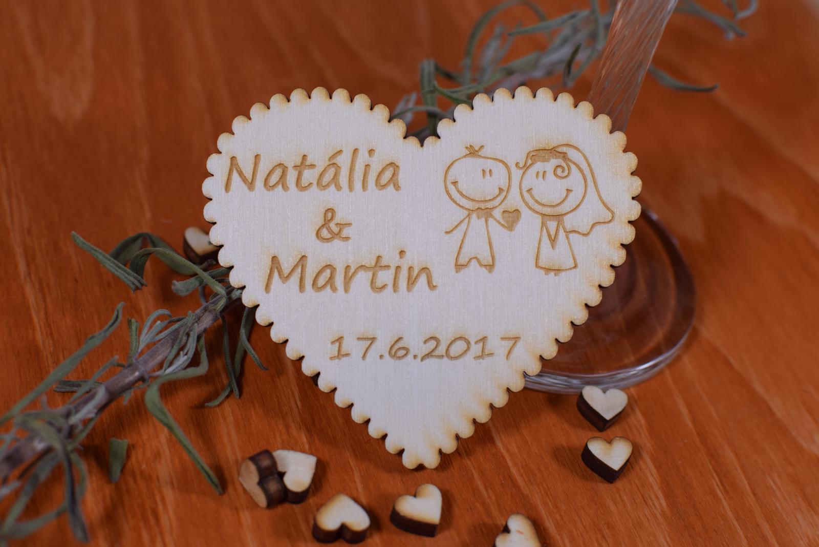 Gravírovaná drevená svadobná magnetka 112 - Obrázok č. 1