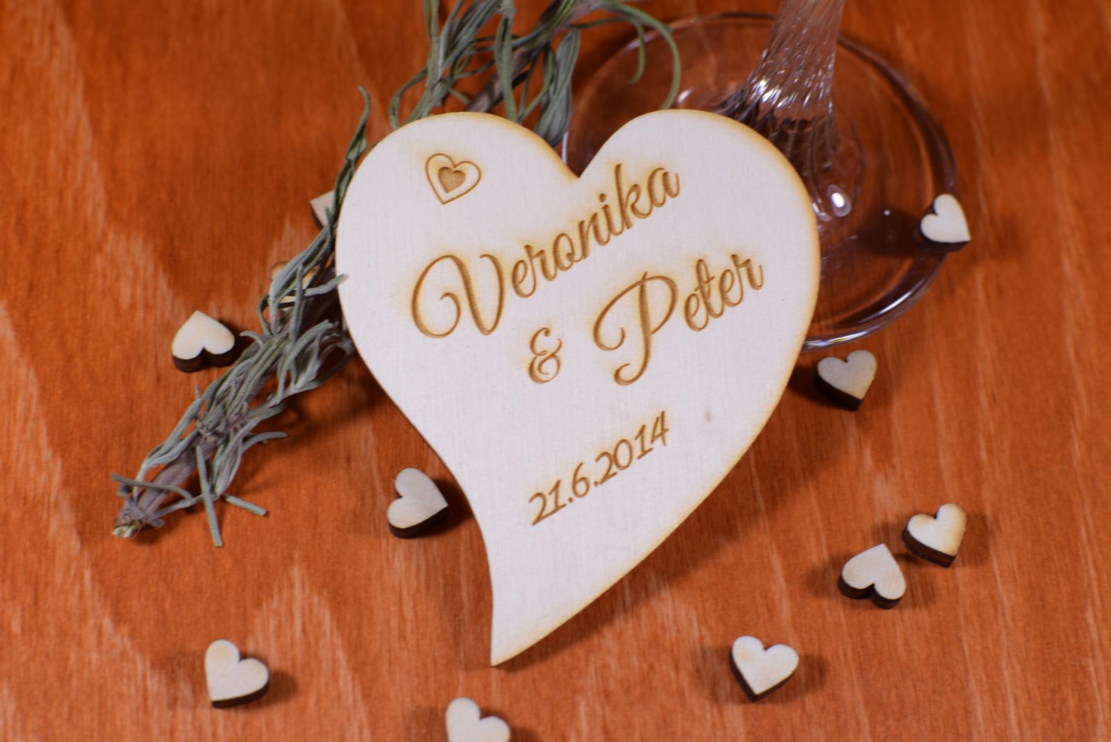 Svadobná magnetka drevená gravírovaná 120 - Obrázok č. 1