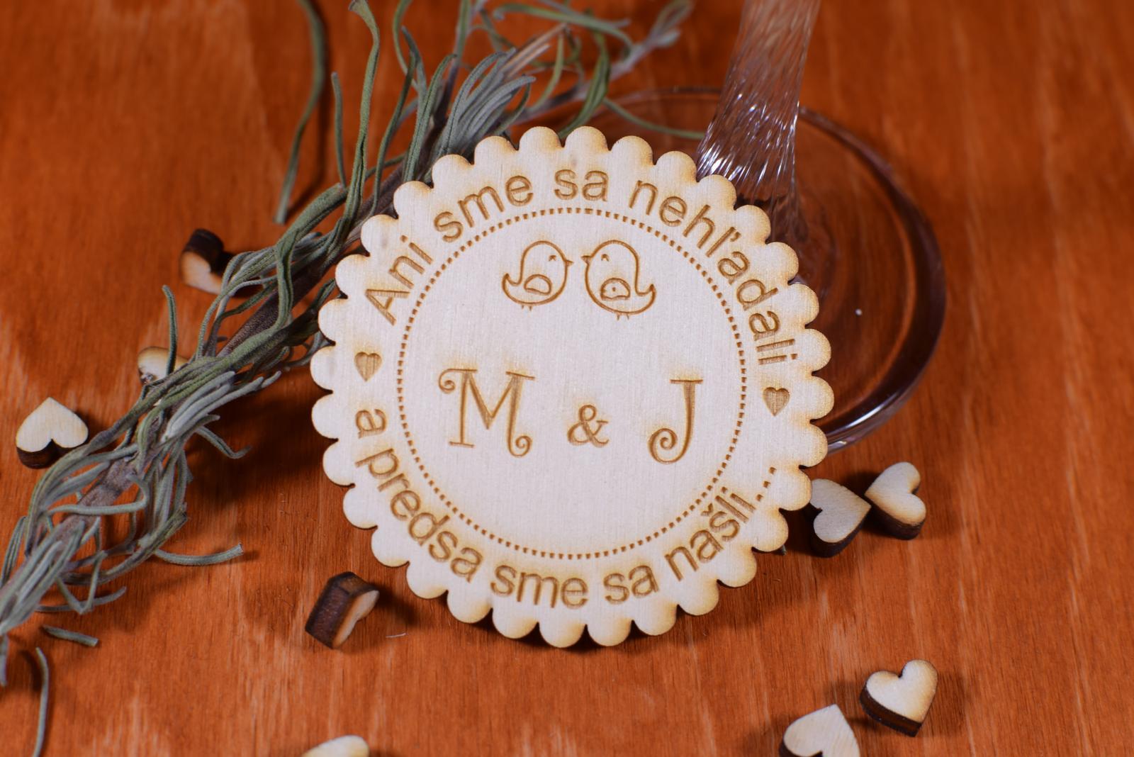 Svadobná magnetka drevená gravírovaná 137 - Obrázok č. 1