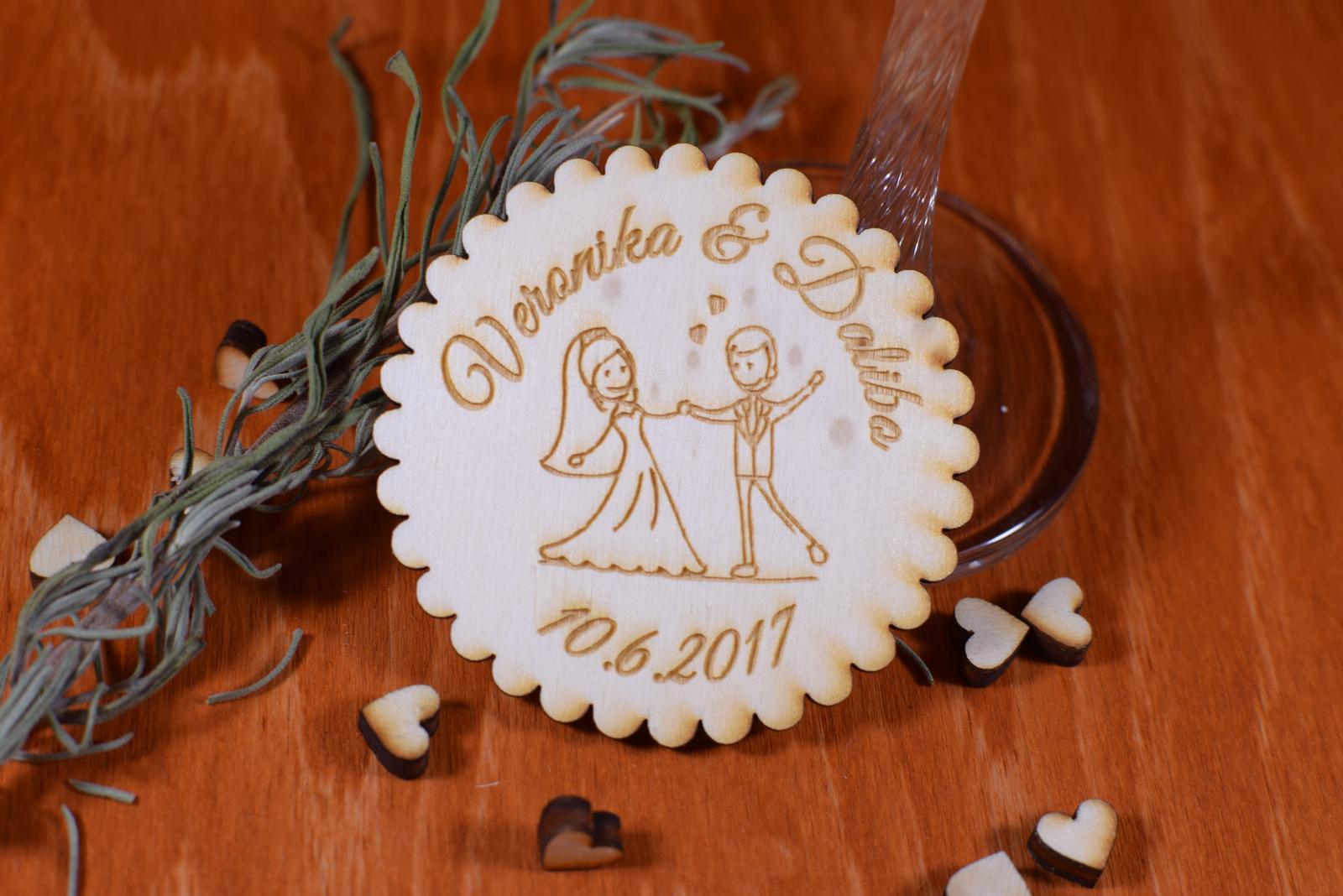 Svadobná magnetka drevená gravírovaná 141 - Obrázok č. 1