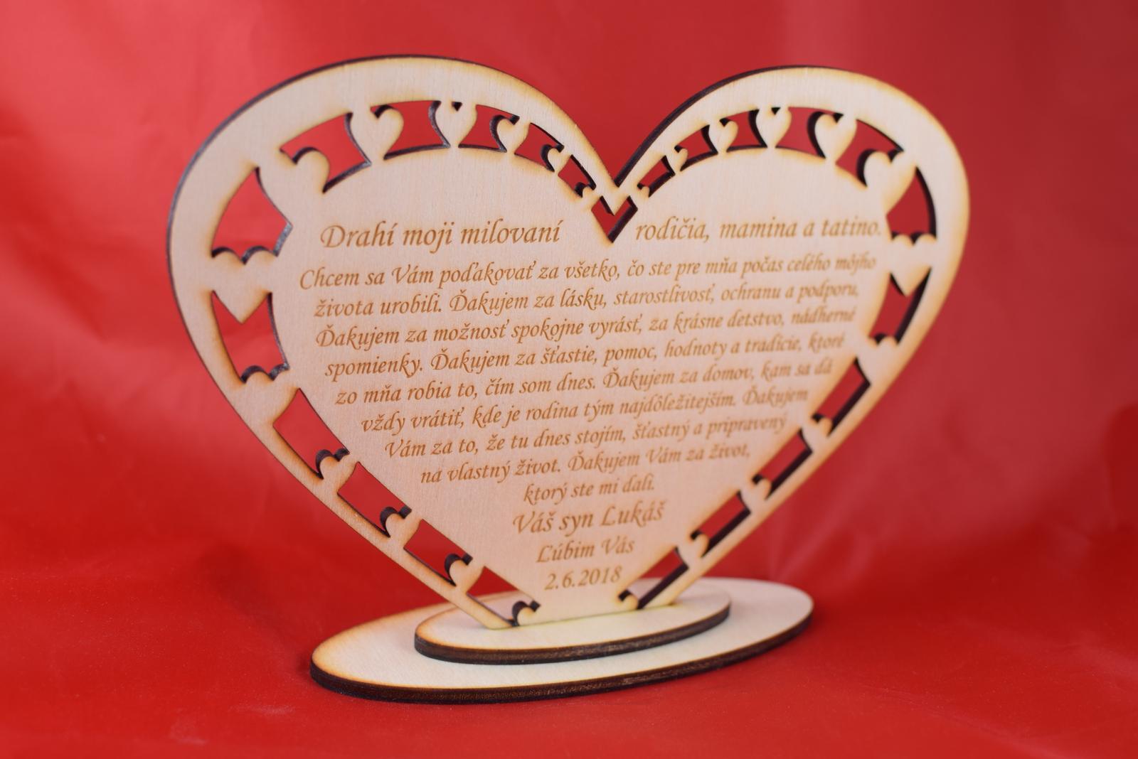 Drevene srdiečko ako poďakovanie rodičom 43 - Obrázok č. 1