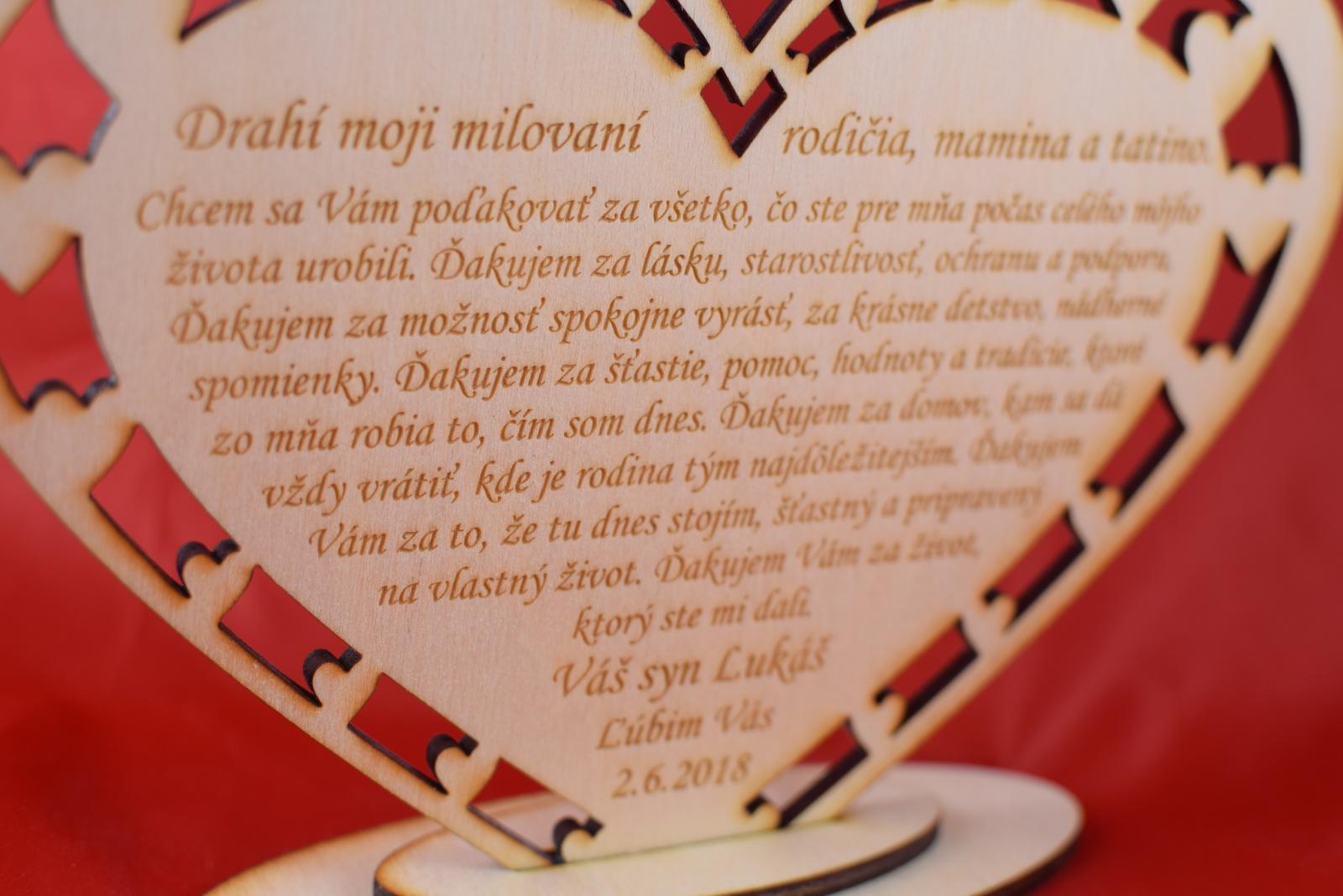 Drevene srdiečko ako poďakovanie rodičom 43 - Obrázok č. 3