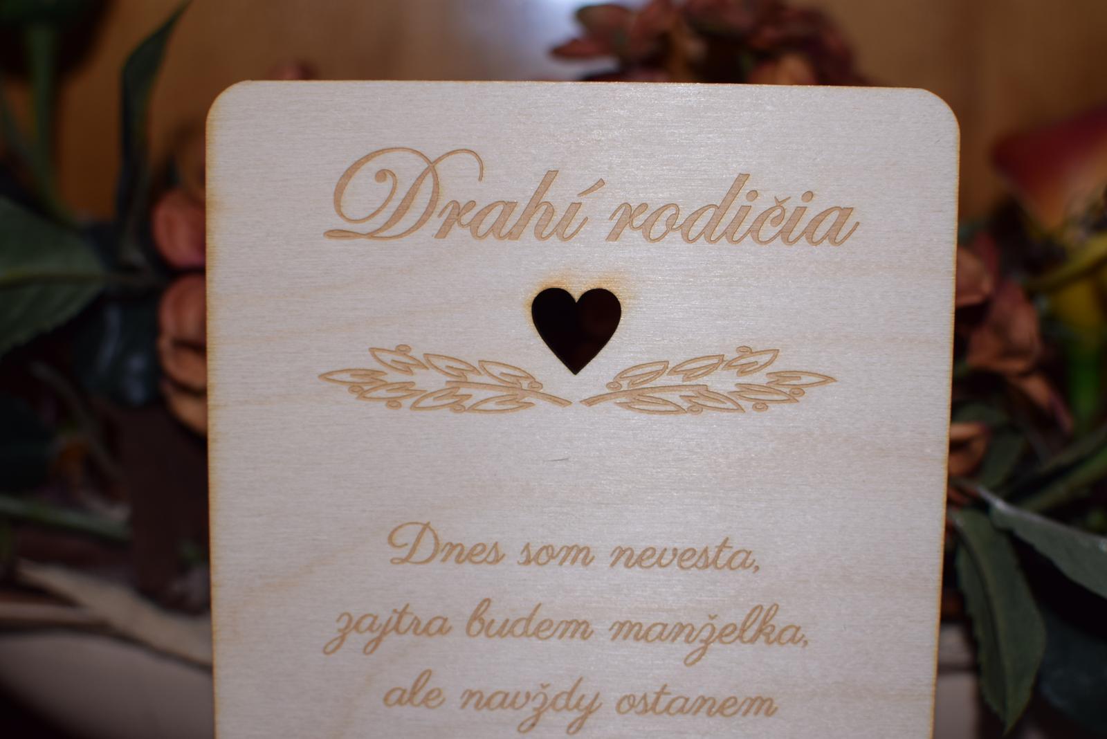 Poďakovanie rodičom drevená tabuľka 1 - Obrázok č. 2
