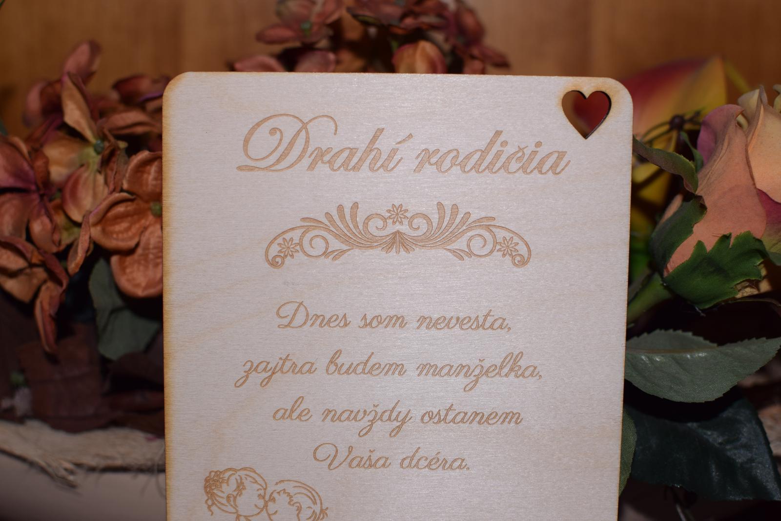 Poďakovanie rodičom drevená tabuľka 3 - Obrázok č. 3