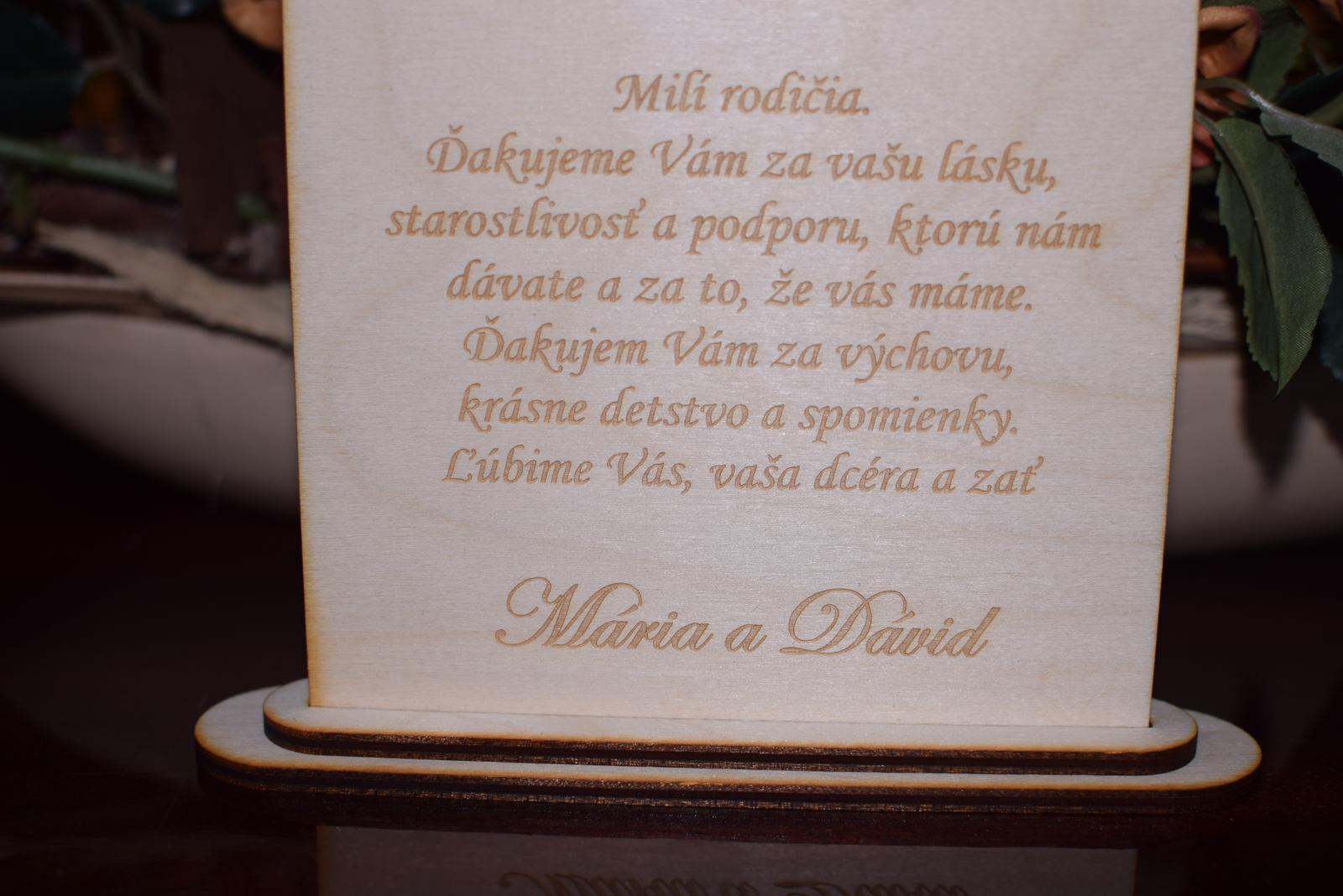 Poďakovanie rodičom drevená tabuľka 5 - Obrázok č. 2