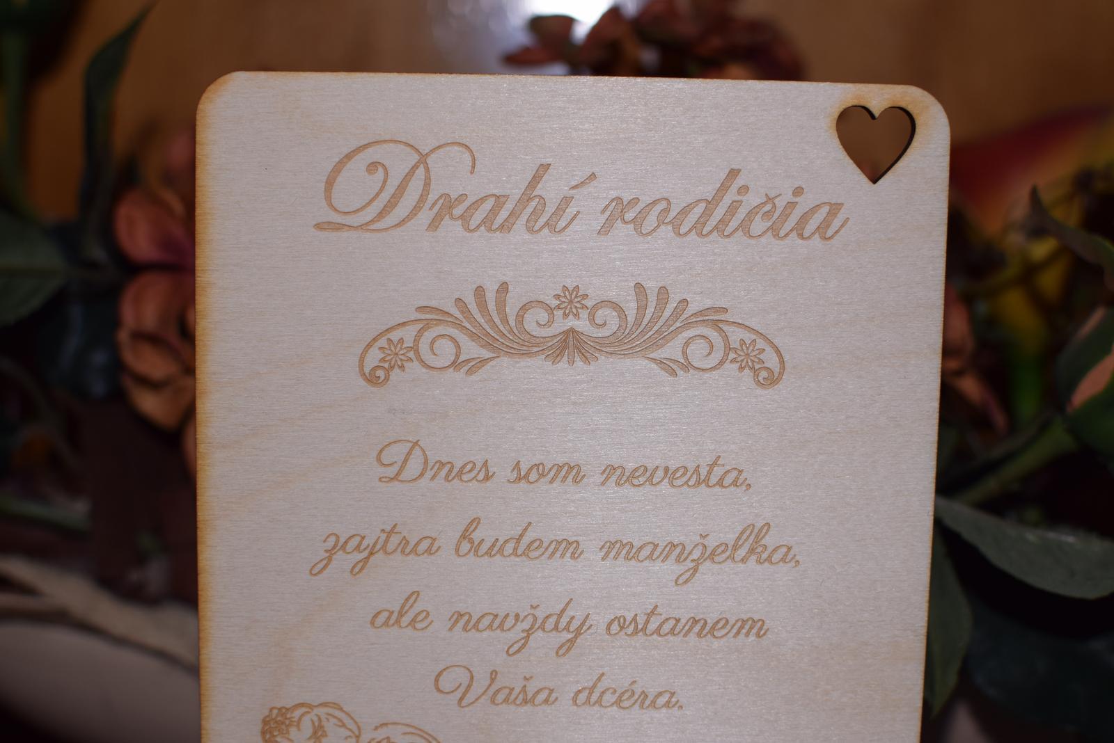 Poďakovanie rodičom drevená tabuľka 6 - Obrázok č. 3