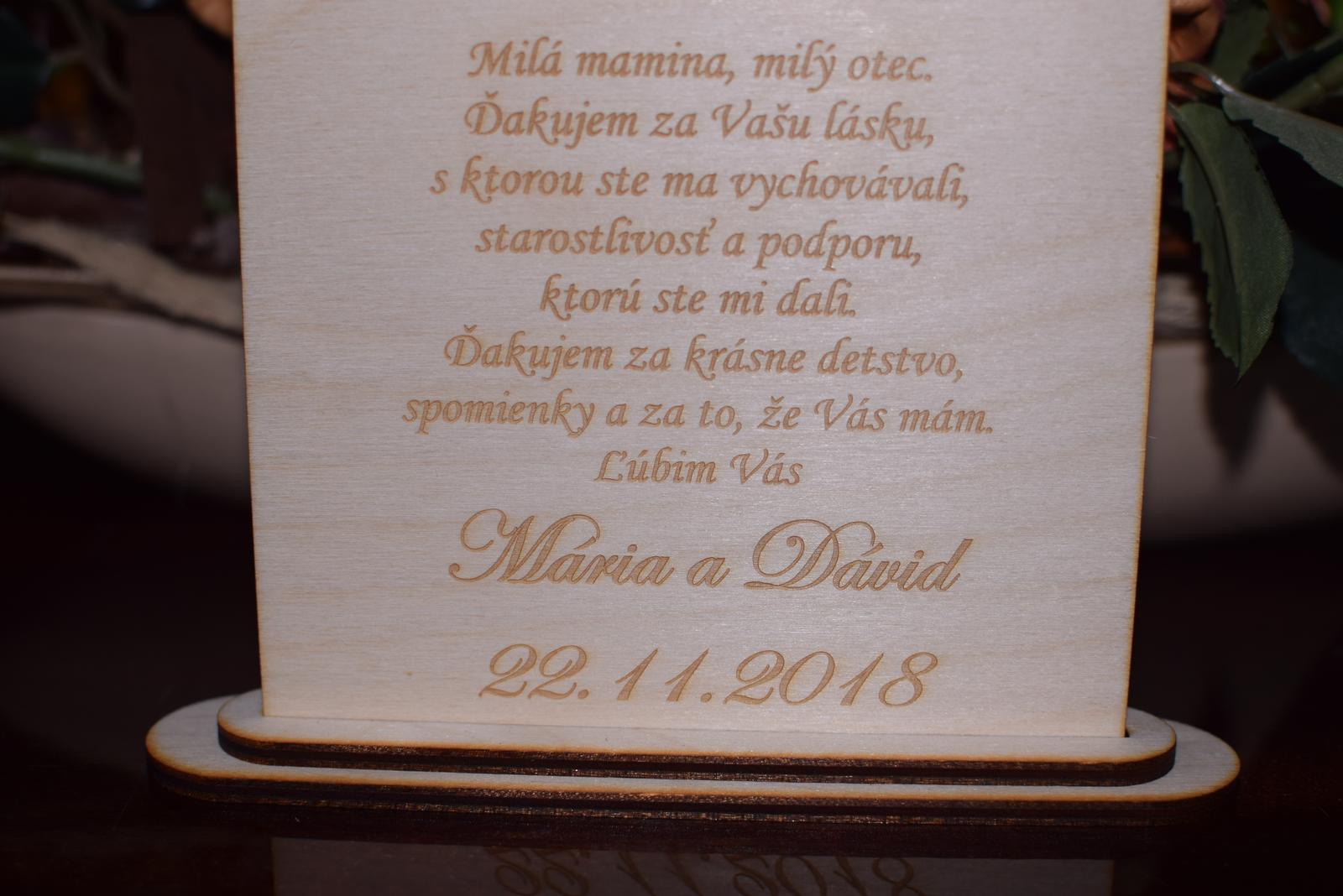 Poďakovanie rodičom drevená tabuľka 7 - Obrázok č. 2
