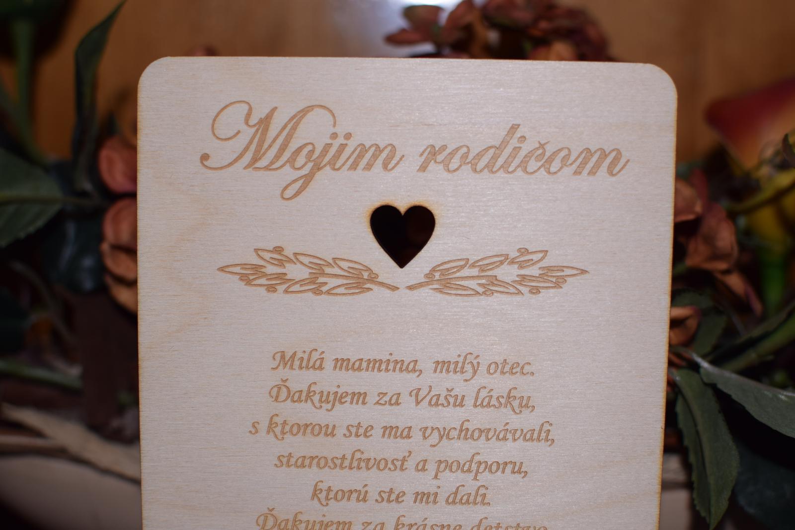Poďakovanie rodičom drevená tabuľka 7 - Obrázok č. 3