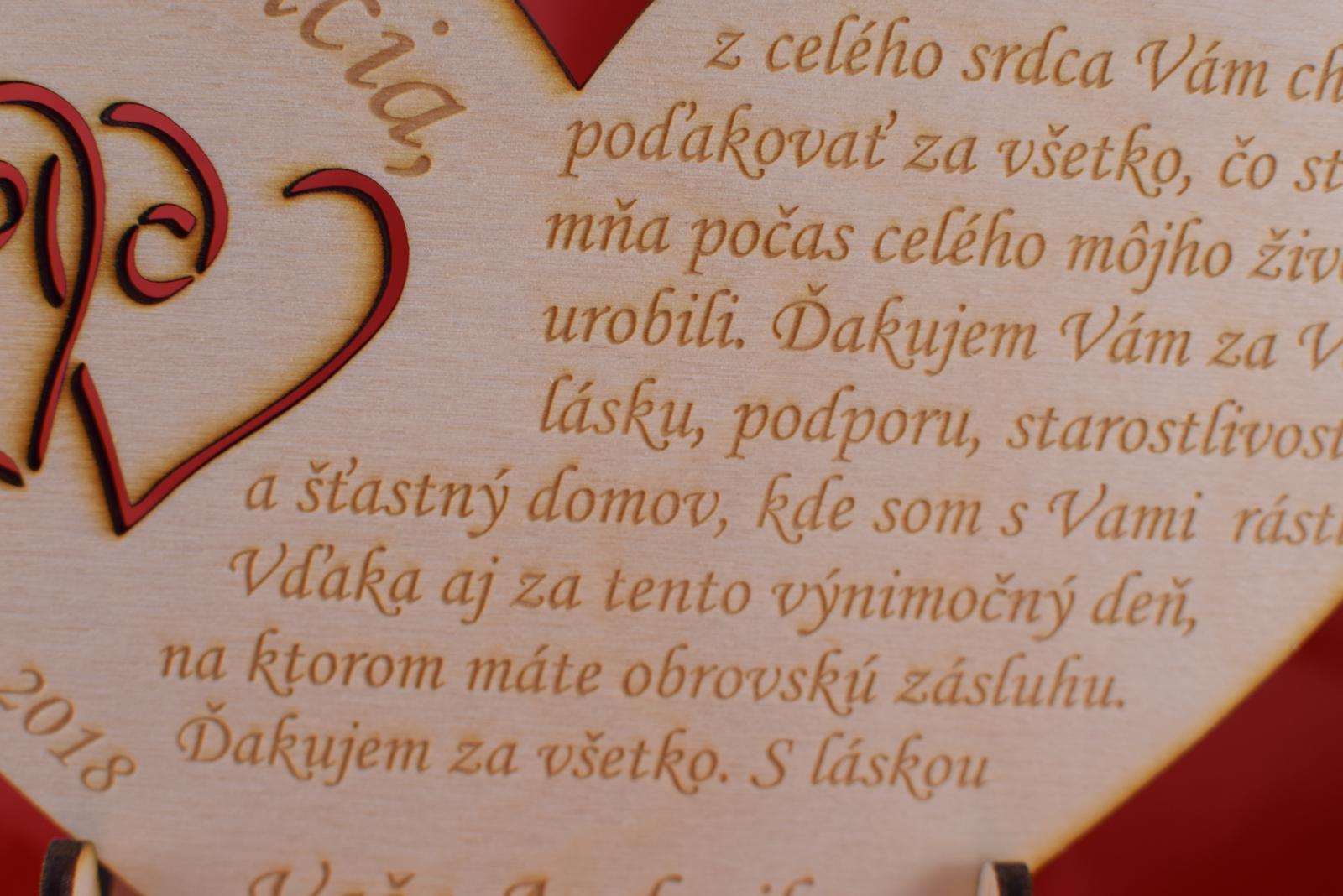 Poďakovanie rodičom drevené srdiečko 46 - Obrázok č. 2