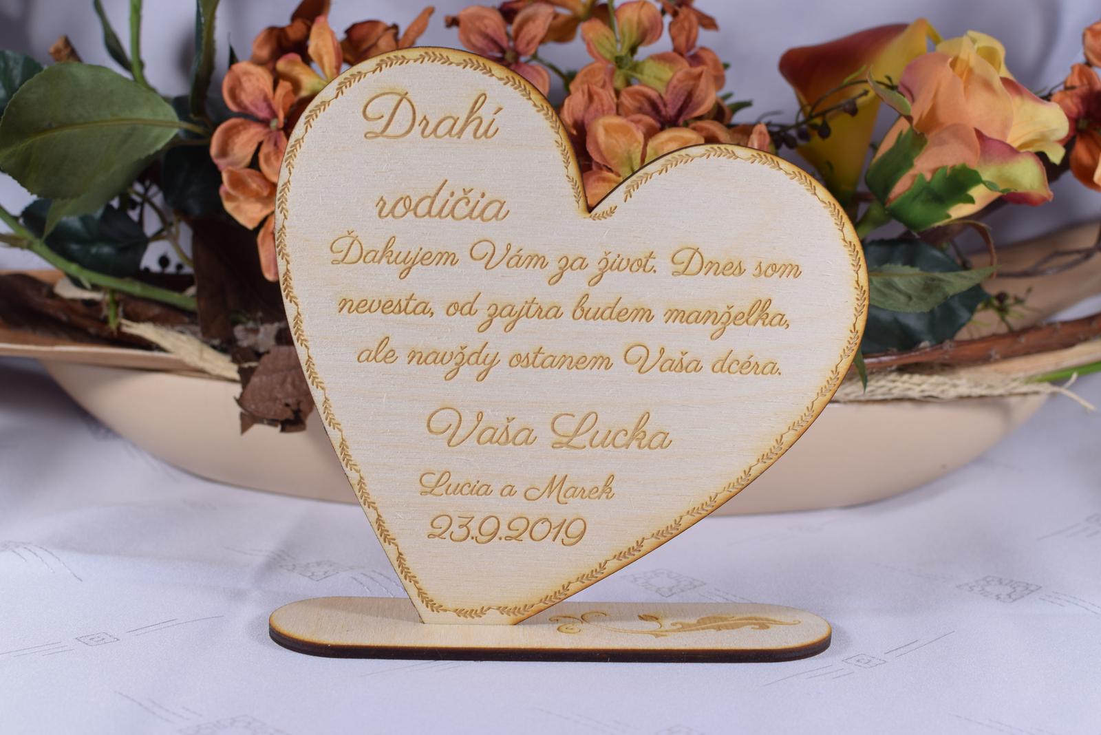 Poďakovanie rodičom drevené srdiečko  47 - Obrázok č. 1