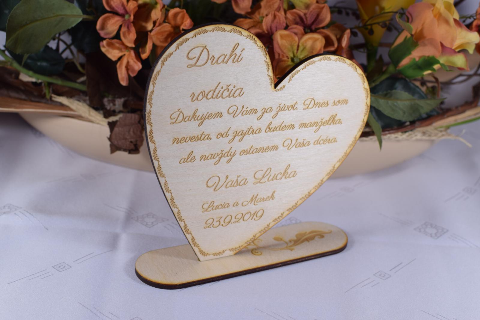 Poďakovanie rodičom drevené srdiečko  47 - Obrázok č. 4