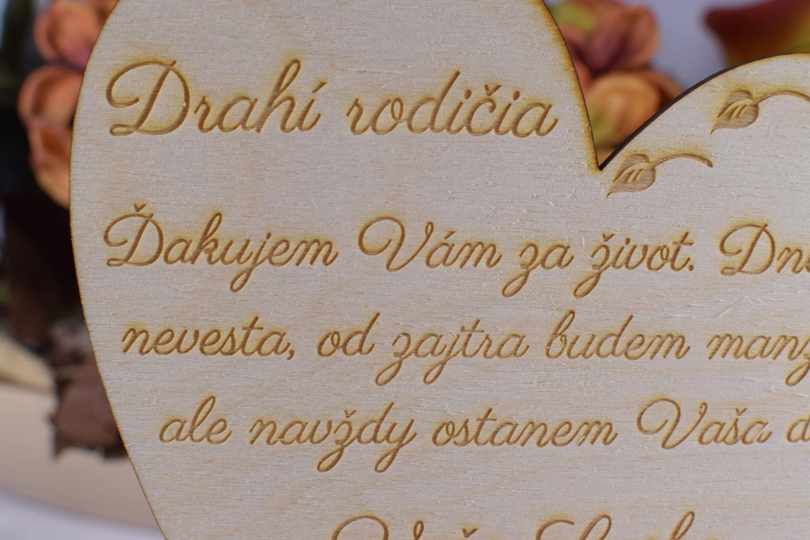 Poďakovanie rodičom drevené srdiečko 52 - Obrázok č. 2
