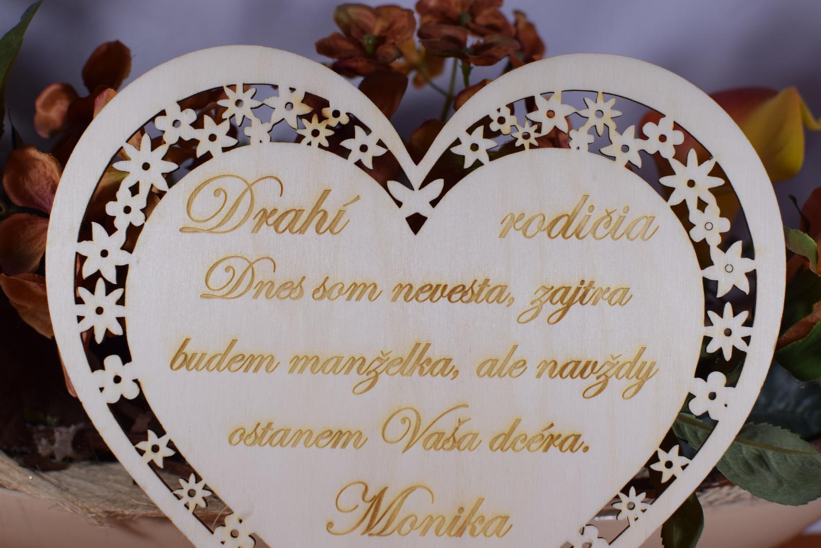 Poďakovanie Rodičom srdce vyrezávané 1 - Obrázok č. 3