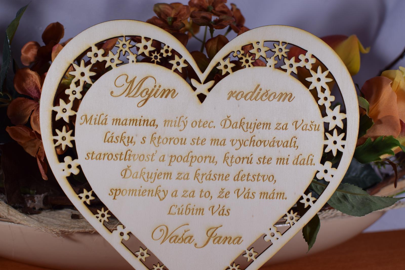 Poďakovanie Rodičom srdce vyrezávané 2 - Obrázok č. 4