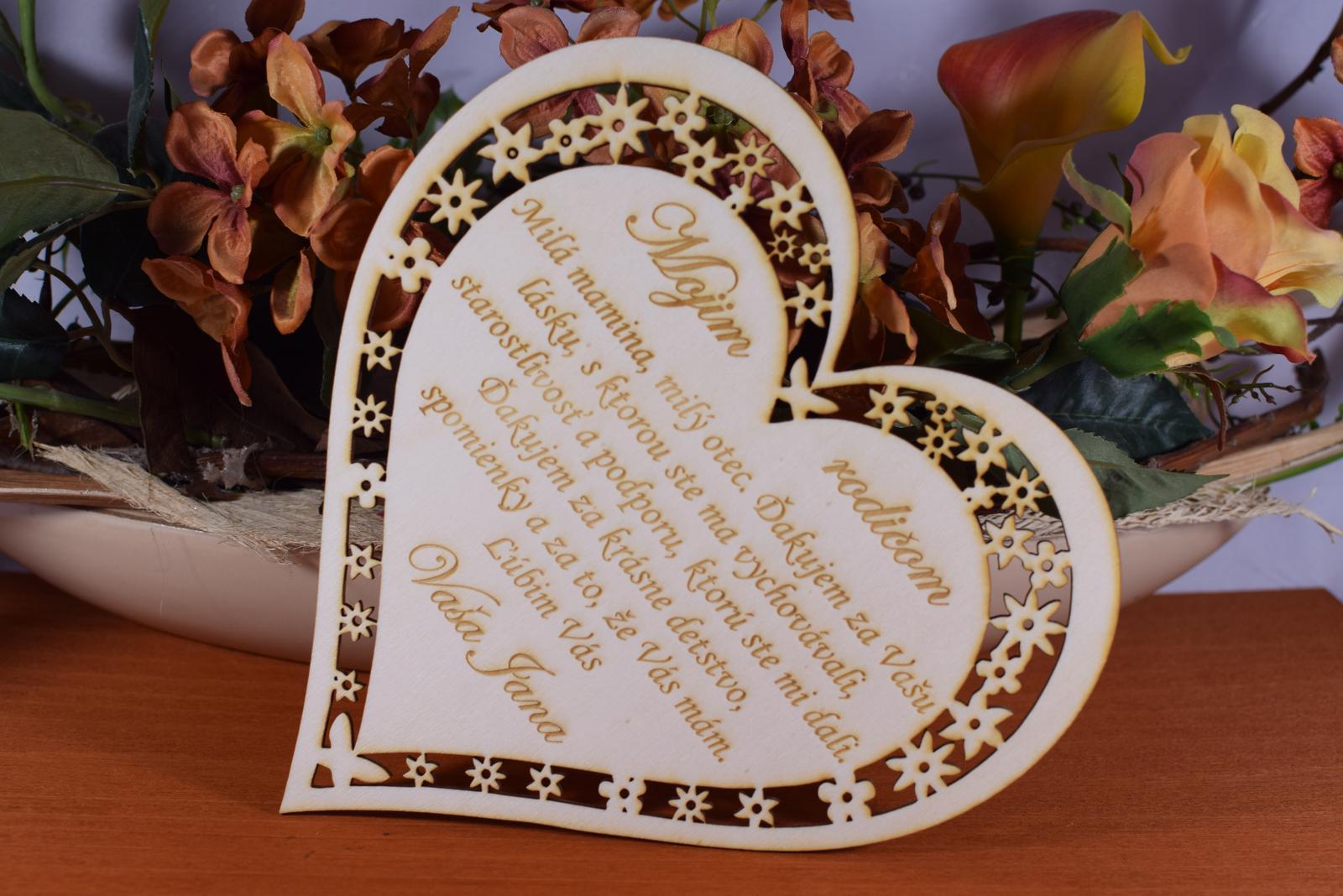 Poďakovanie Rodičom srdce vyrezávané 2 - Obrázok č. 3