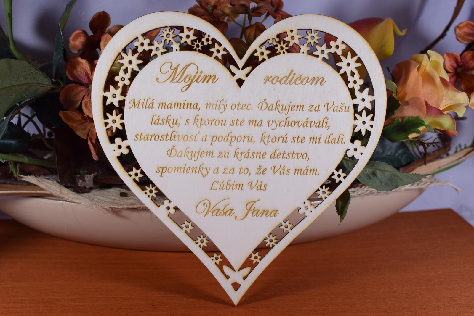 Poďakovanie Rodičom srdce vyrezávané 2 - Obrázok č. 1