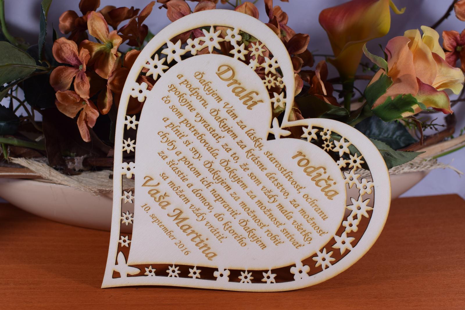 Poďakovanie Rodičom srdce vyrezávané 3 - Obrázok č. 4