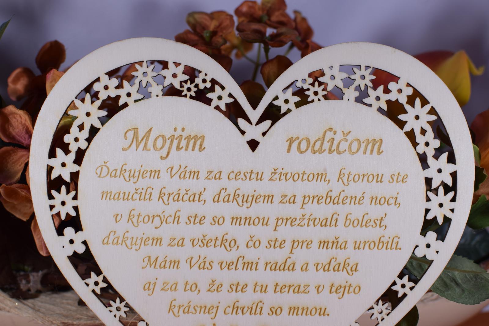 Poďakovanie Rodičom srdce vyrezávané 4 - Obrázok č. 2