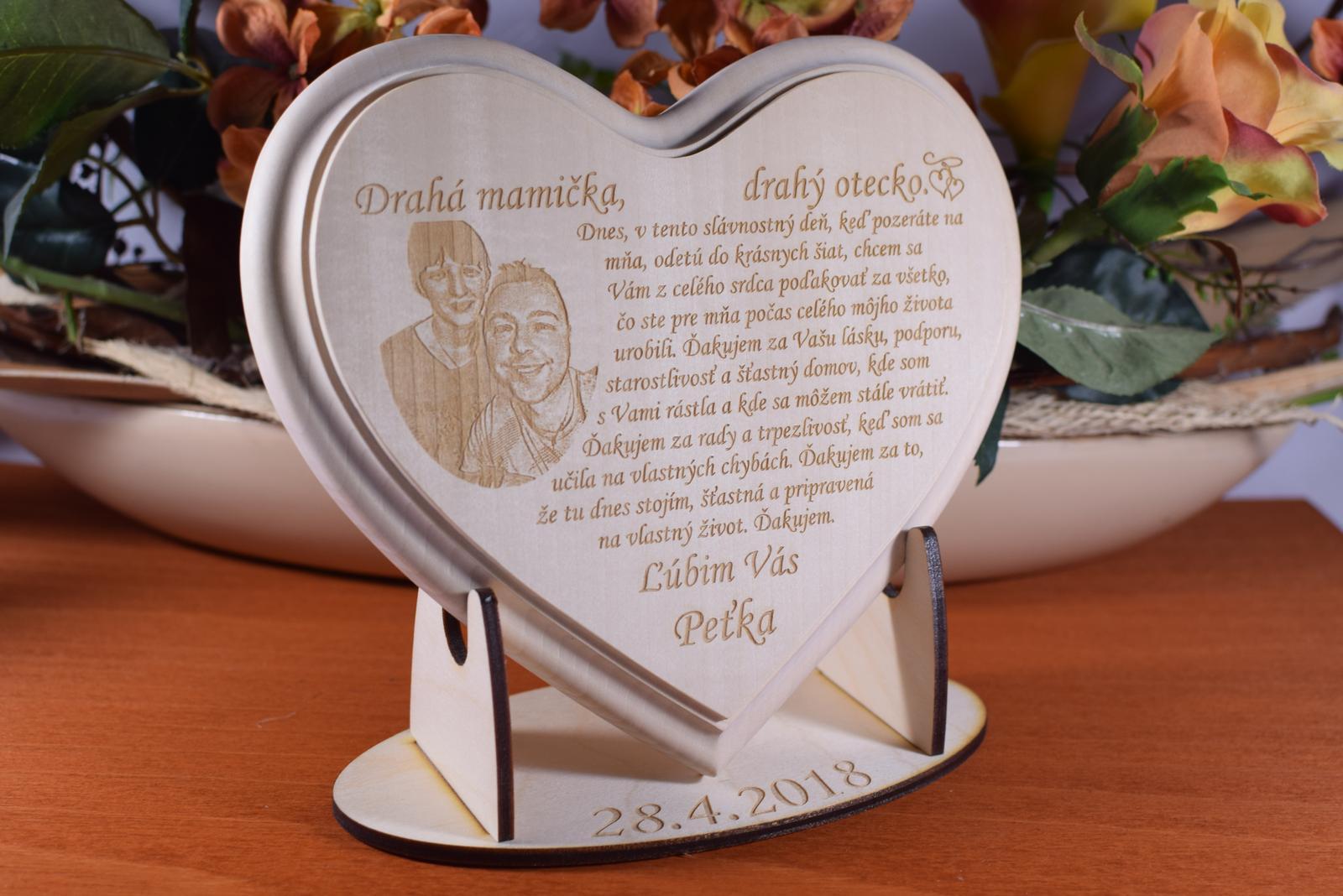 Poďakovanie Rodičom srdce lipove z fotografiou - Obrázok č. 1