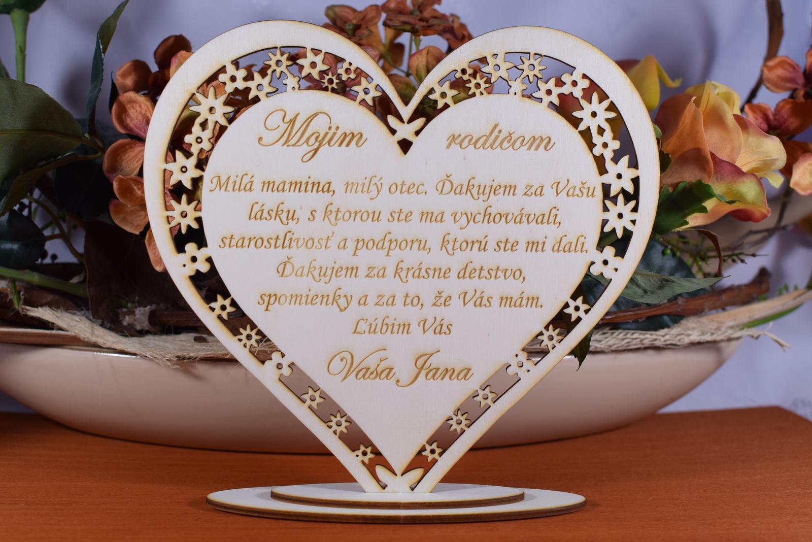Poďakovanie Rodičom srdce vyrezávané 5 - Obrázok č. 1