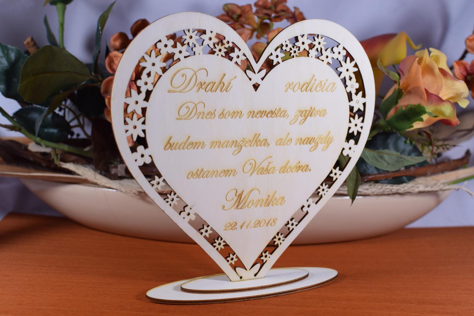 Poďakovanie Rodičom srdce vyrezávané 6 - Obrázok č. 2