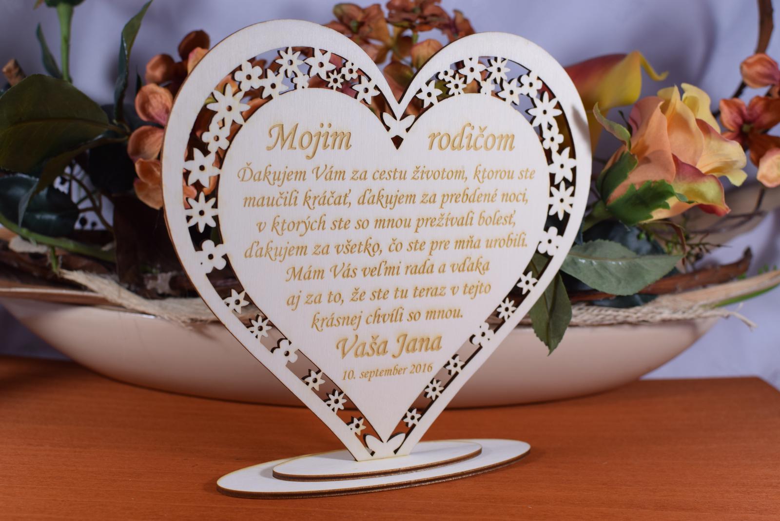 Poďakovanie Rodičom srdce vyrezávané 8 - Obrázok č. 4