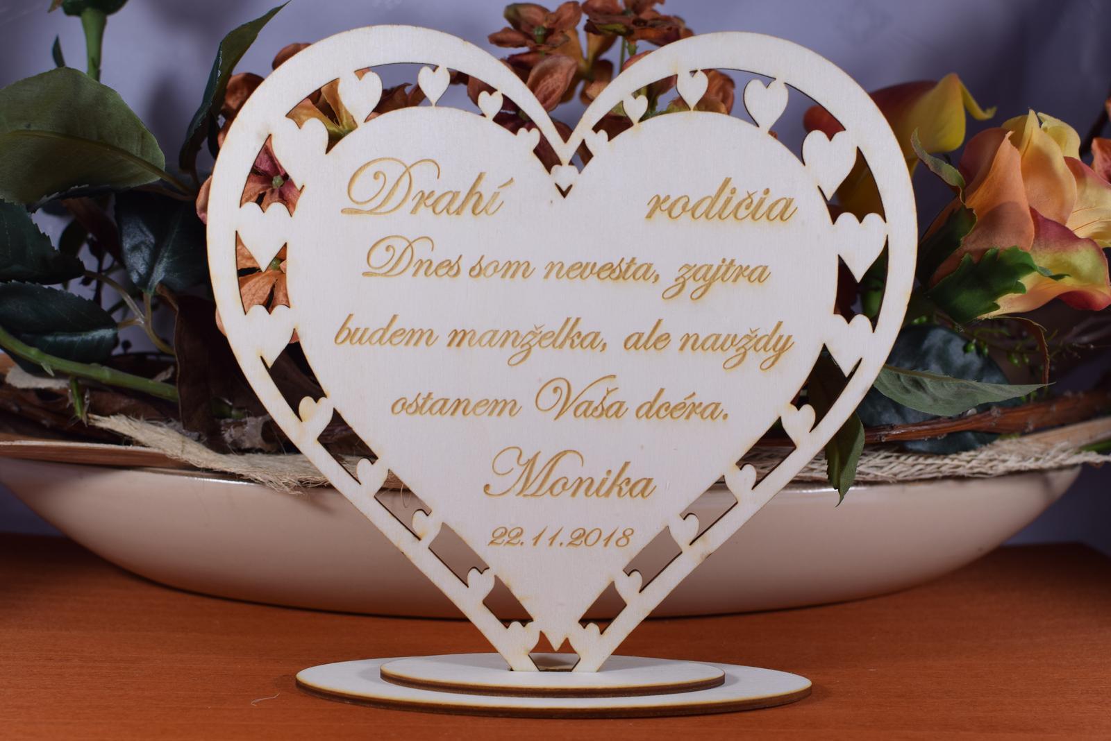 Poďakovanie Rodičom srdce vyrezávané 12 - Obrázok č. 1
