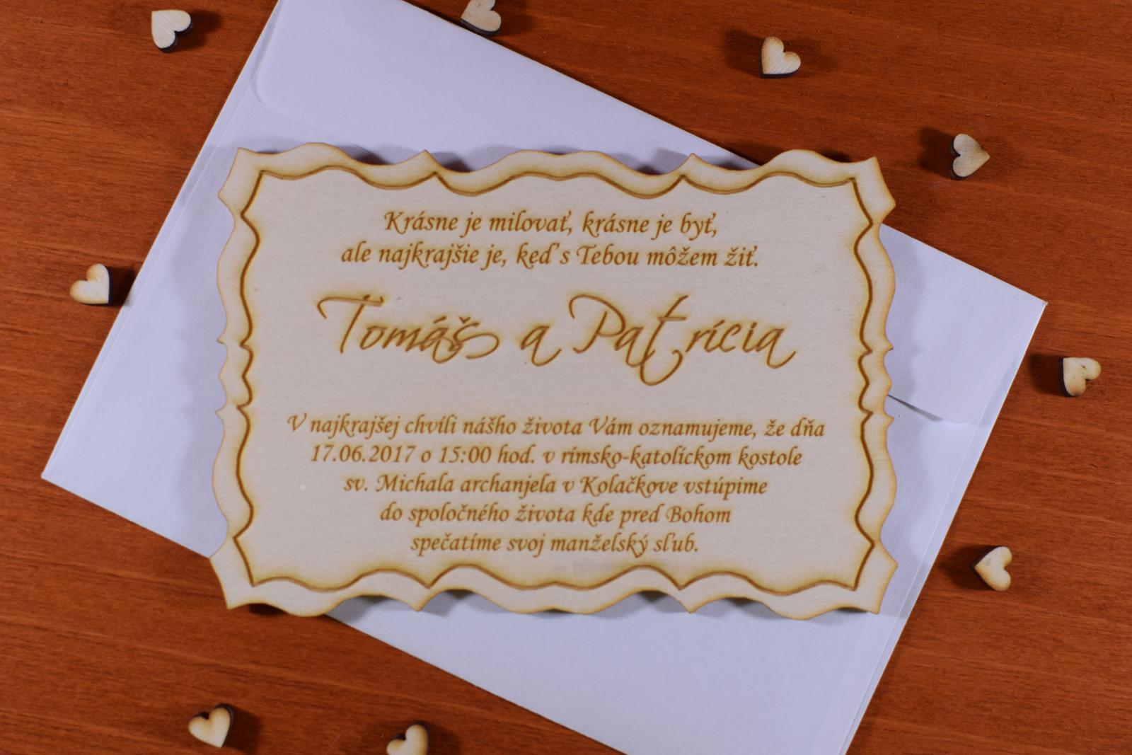 Svadobné oznamenie drevené gravírované 1 - Obrázok č. 1