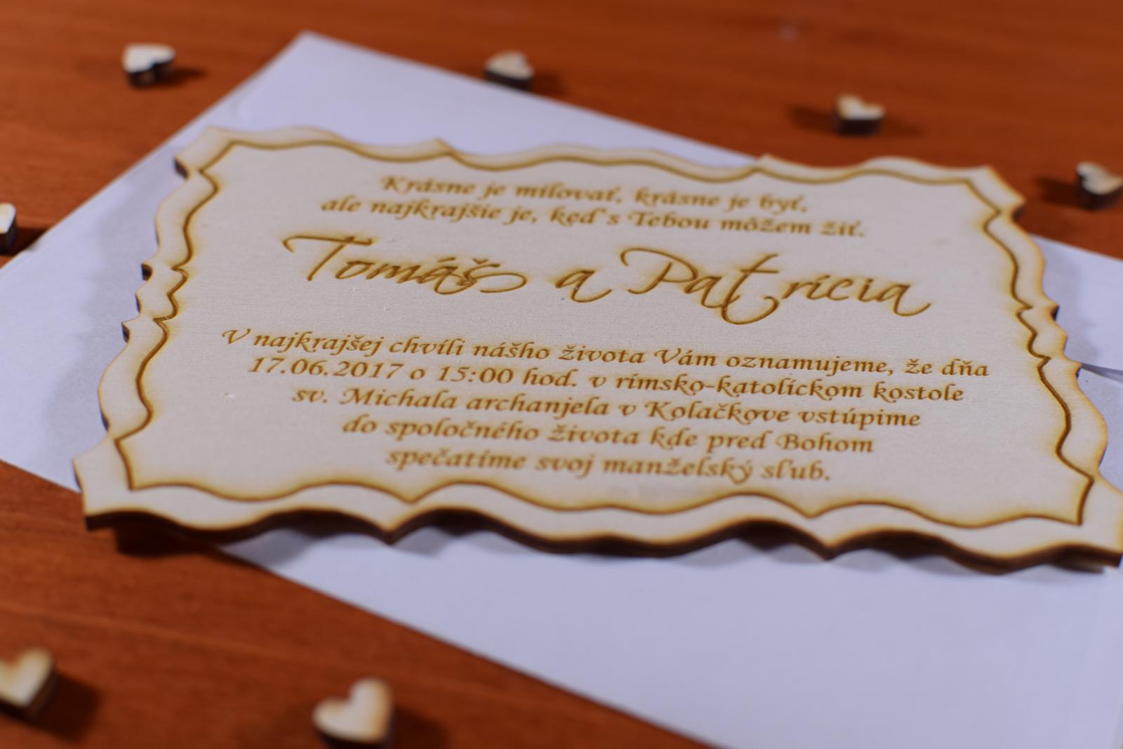 Svadobné oznamenie drevené gravírované 1 - Obrázok č. 2