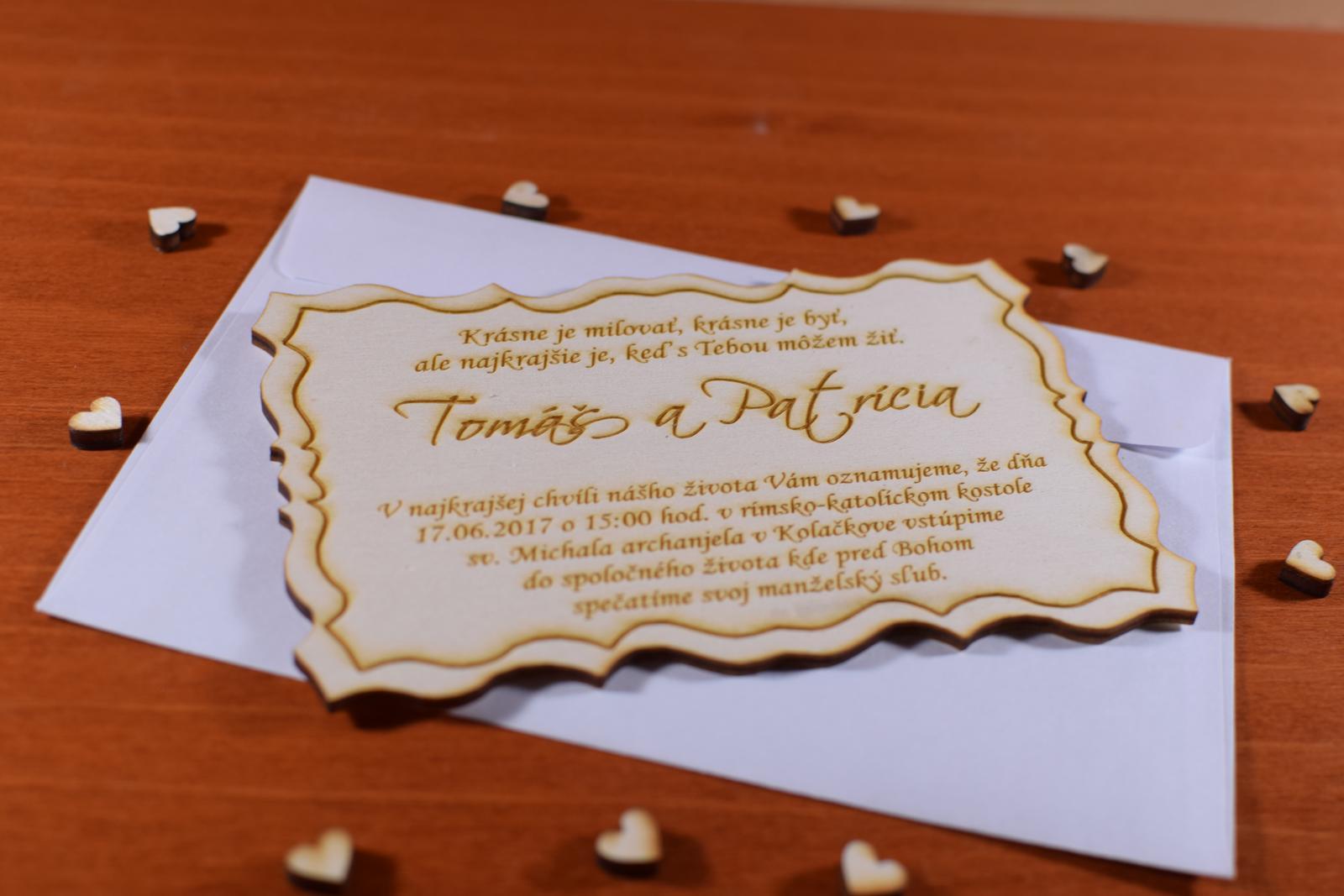 Svadobné oznamenie drevené gravírované 1 - Obrázok č. 3