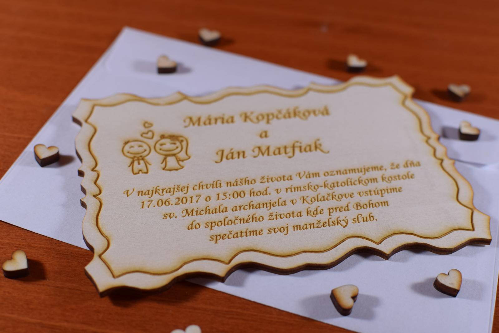Svadobné oznámenie drevené gravírované 2 - Obrázok č. 1