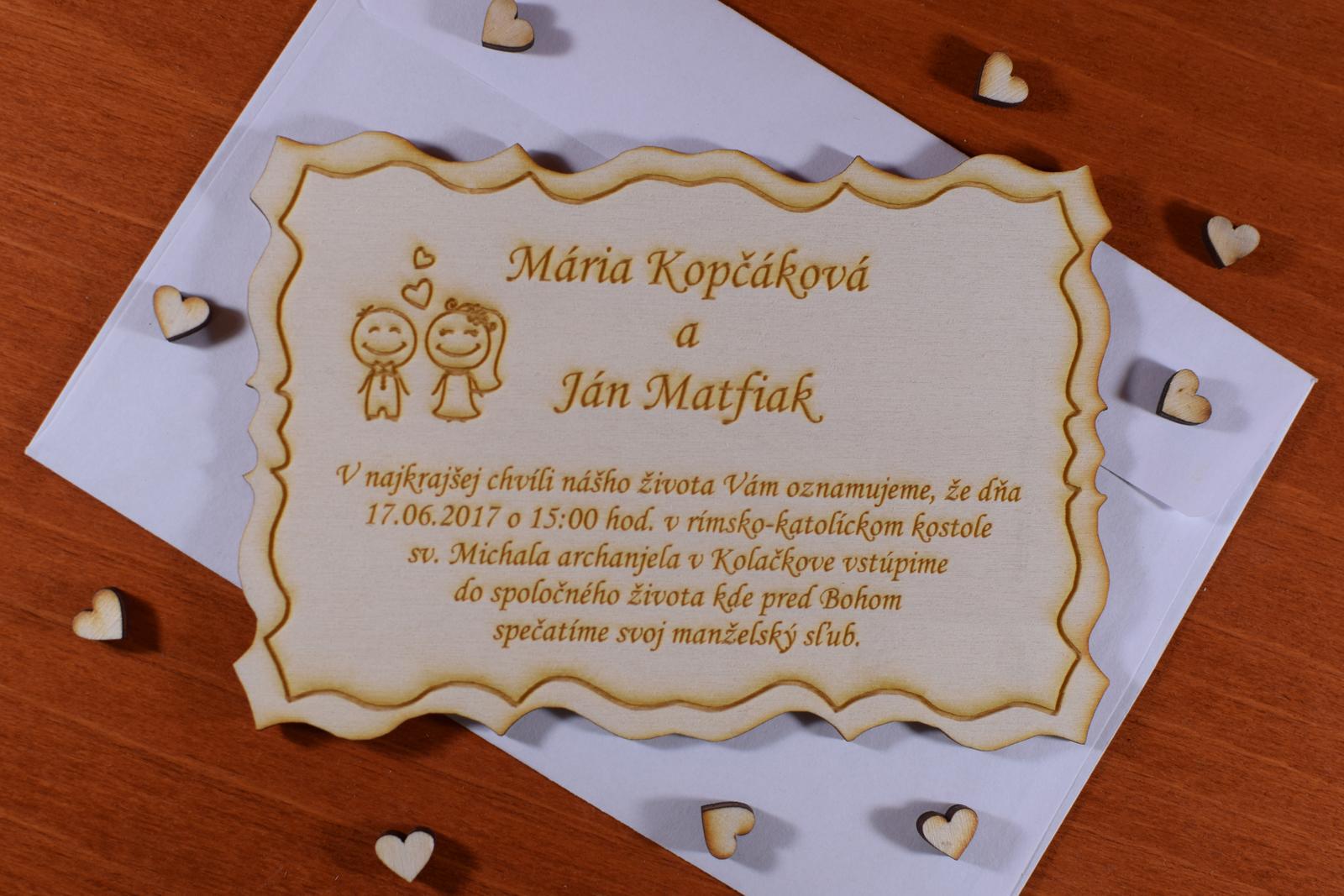 Svadobné oznámenie drevené gravírované 2 - Obrázok č. 2