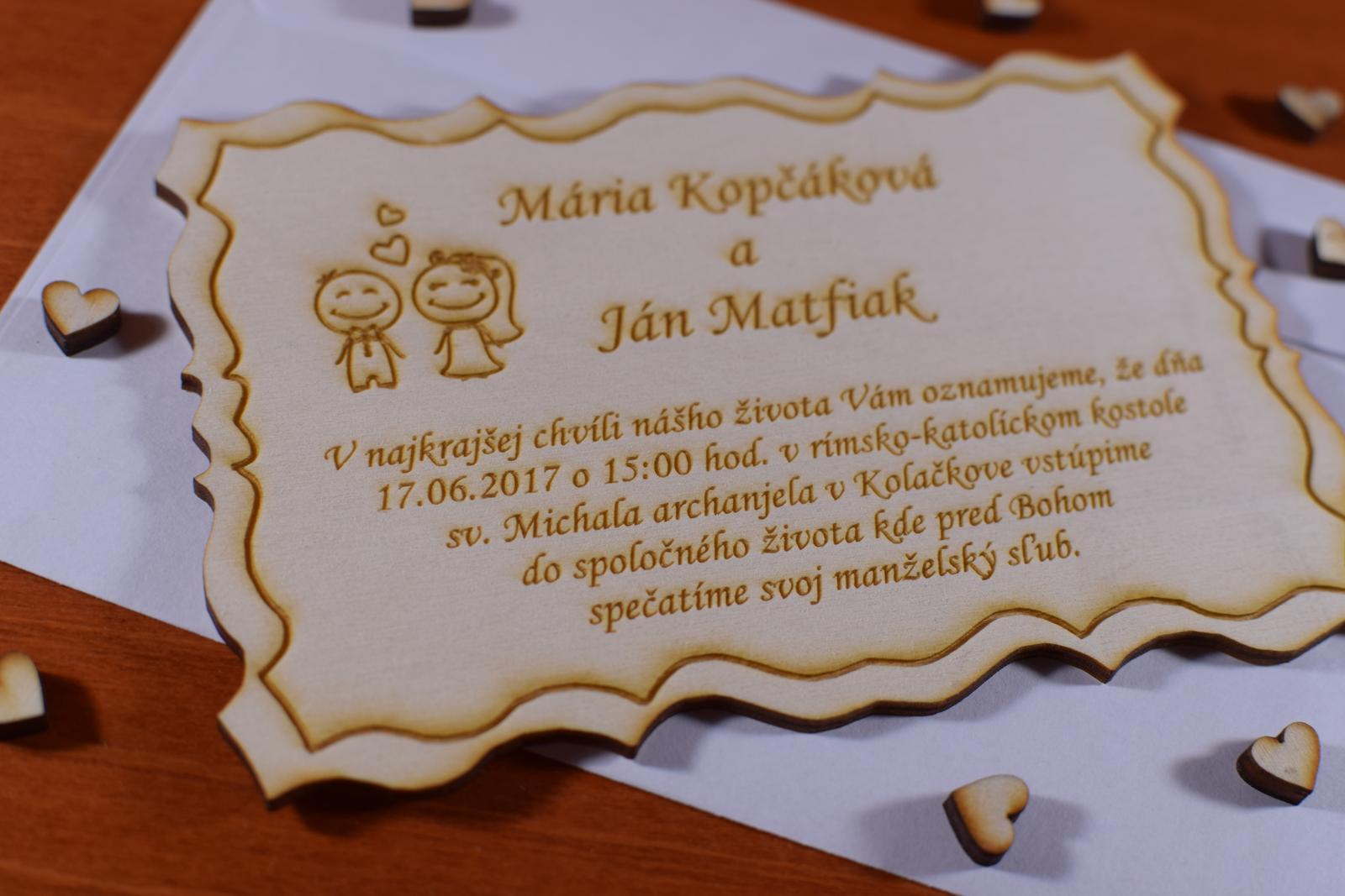 Svadobné oznámenie drevené gravírované 2 - Obrázok č. 3