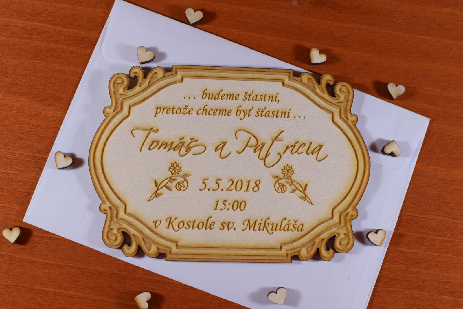 Svadobné oznámenie drevené gravírované 3 - Obrázok č. 1