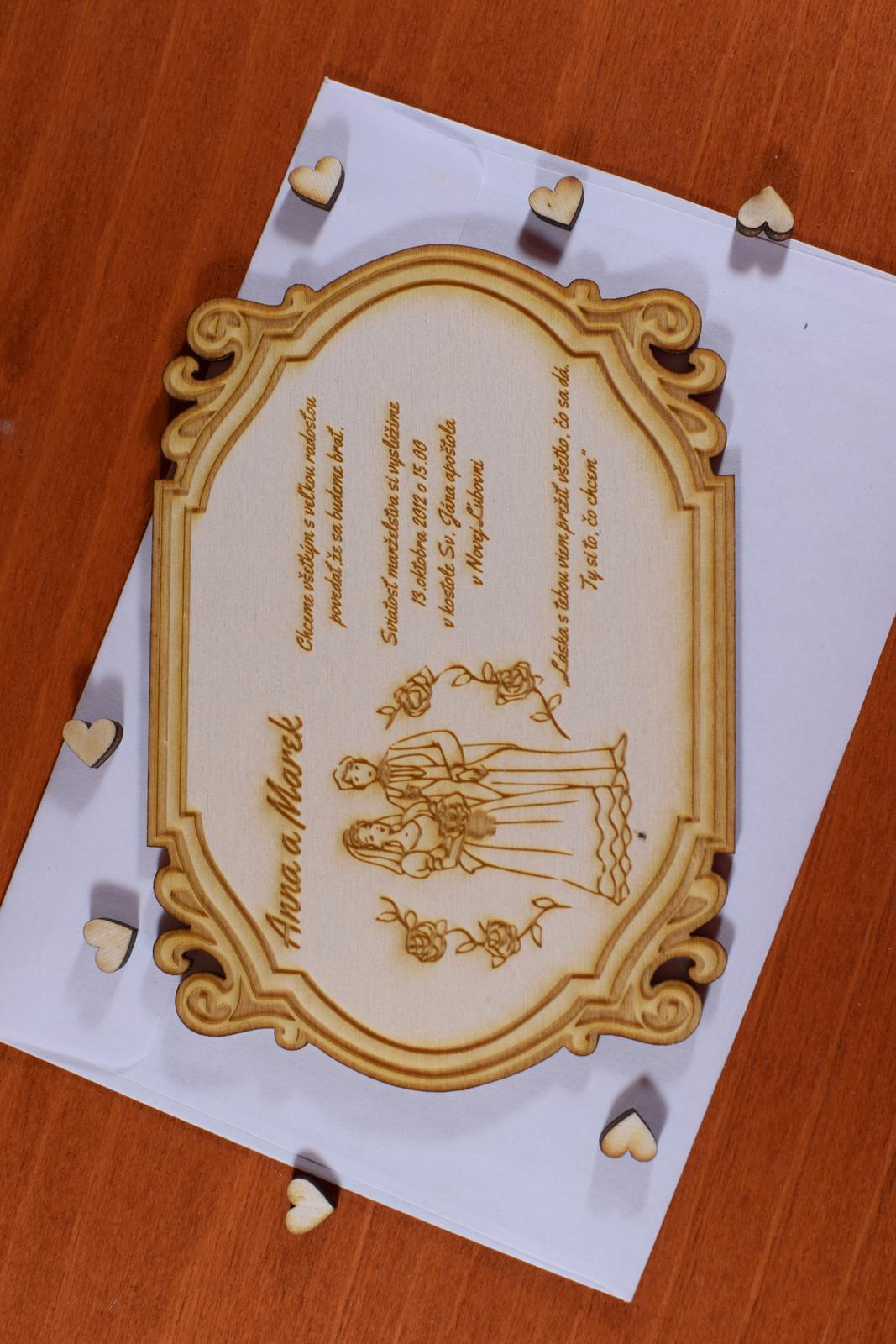 Svadobné oznámenie drevené gravírované 3 - Obrázok č. 2