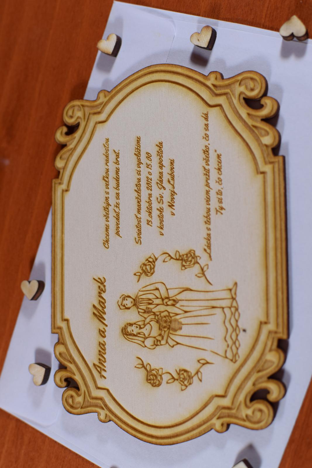 Svadobné oznámenie drevené gravírované 3 - Obrázok č. 3