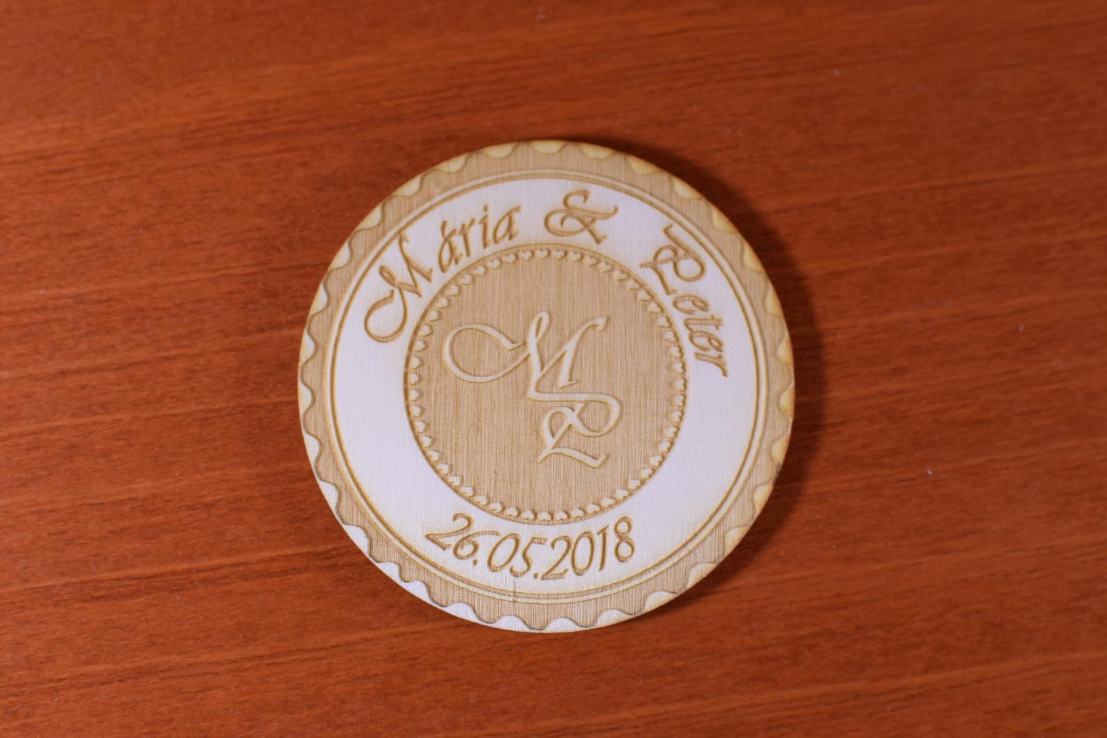 Svadobná magnetka drevená gravírovaná 148 - Obrázok č. 4