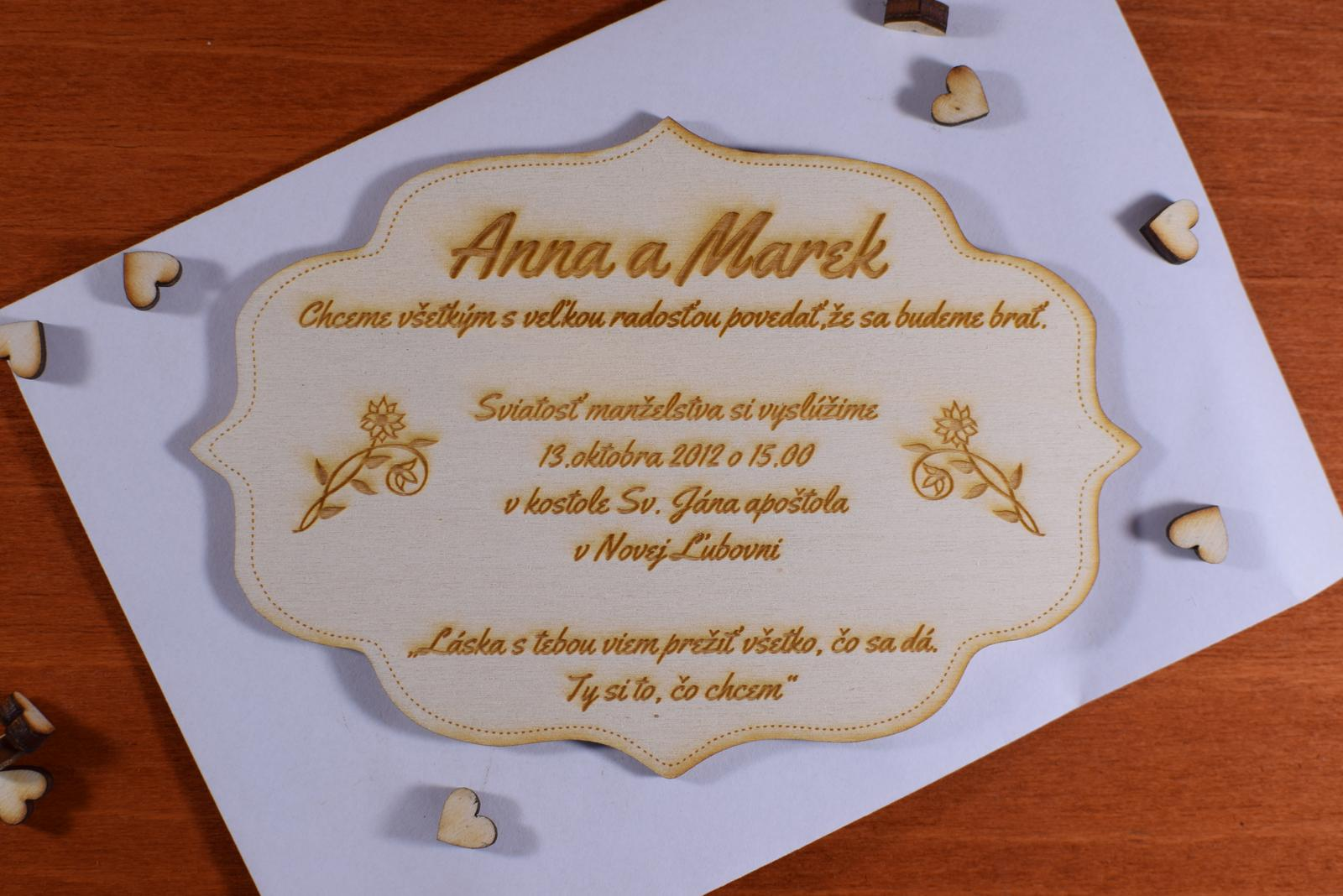 Svadobné oznámenie drevené gravírované 5 - Obrázok č. 1