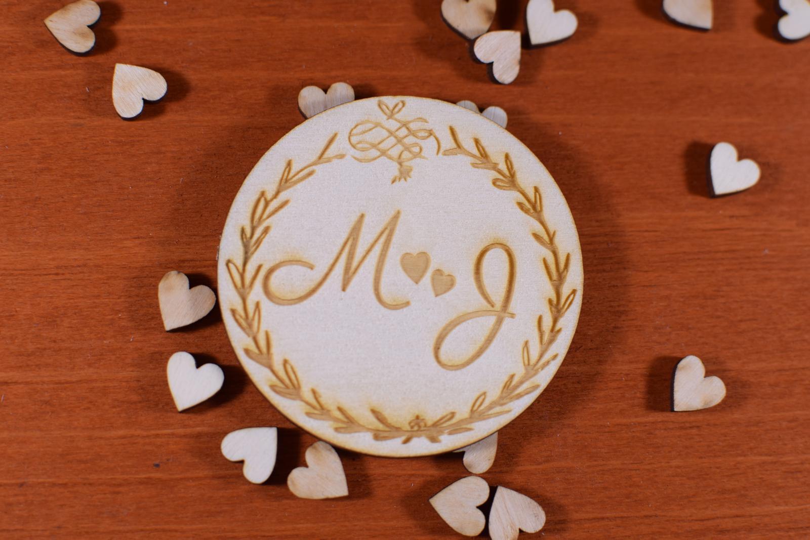 Drevená Svadobná magnetka gravírovaná 155 - Obrázok č. 1