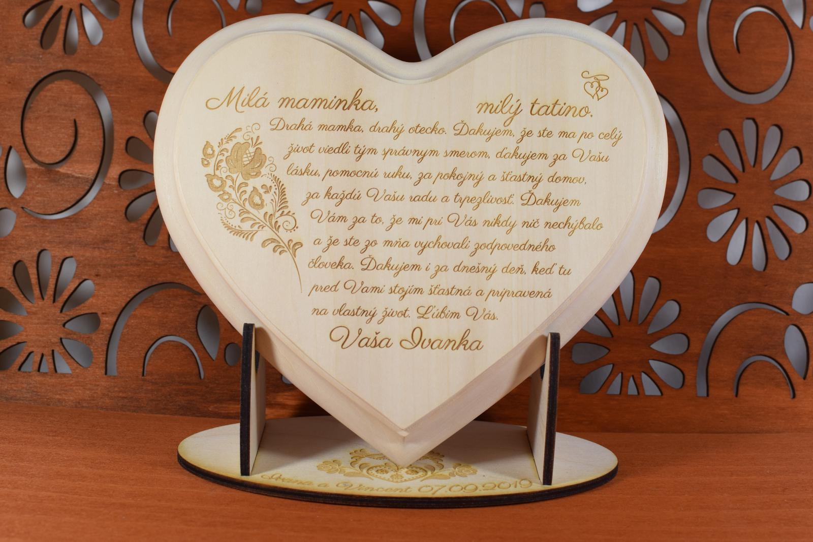 Poďakovanie Rodičom srdce ľudový vzor 1 - Obrázok č. 1