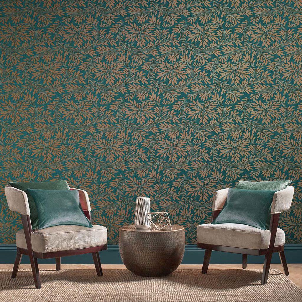 Kolekcia tapiet Forest | GRAHAM & BROWN od dizajnérky Barbary Hulanicki - Tapeta Forest Spiced Teal 105279 | GRAHAM & BROWN