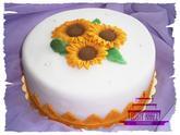 Svatební dort se slunečnicemi