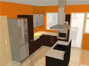 návrh naší kuchyně. trošku budou pozměněny barvičky vrchních skříněk a prac. desky