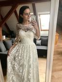 Vintage celokrajkové svatební šaty, 38