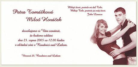 Oznámení s fotkou má také něco do sebe. Toto je z www.fotosvatebka.cz