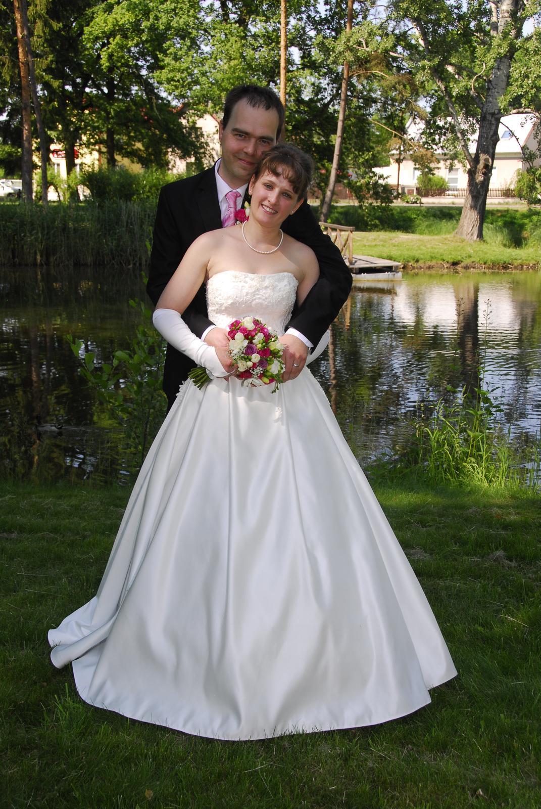Bílé krémové svatební šaty, vel. 36 - Obrázek č. 1