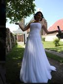 Čistě bílé, korzetové svatební šaty, 36
