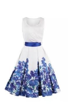 Biele šaty VINTAGE  s modrou potlačou kvetov - Obrázok č. 1