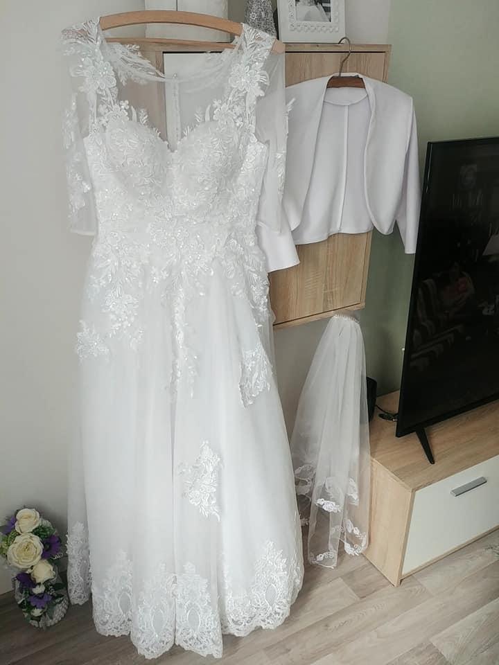 Svadobné princeznovské šaty (36-38) KOMPLET, výška 160-165cm - Obrázok č. 1