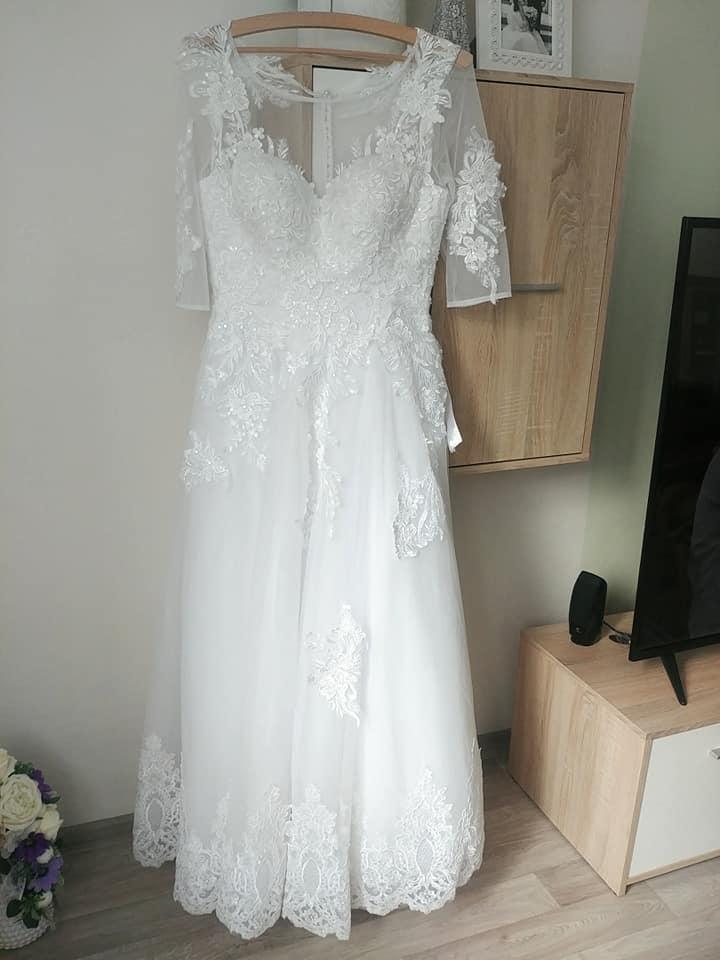 Svadobné princeznovské šaty (36-38) KOMPLET, výška 160-165cm - Obrázok č. 3
